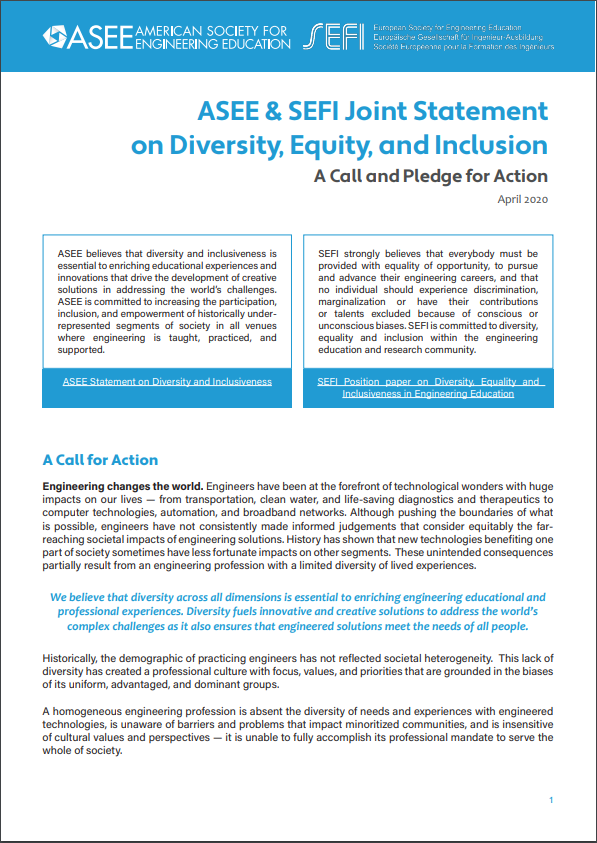 ASEE & SEFI Joint Statement On Diversity, Equity, And Inclusion